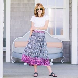 J. Jill Smocked Printed Maxi Skirt